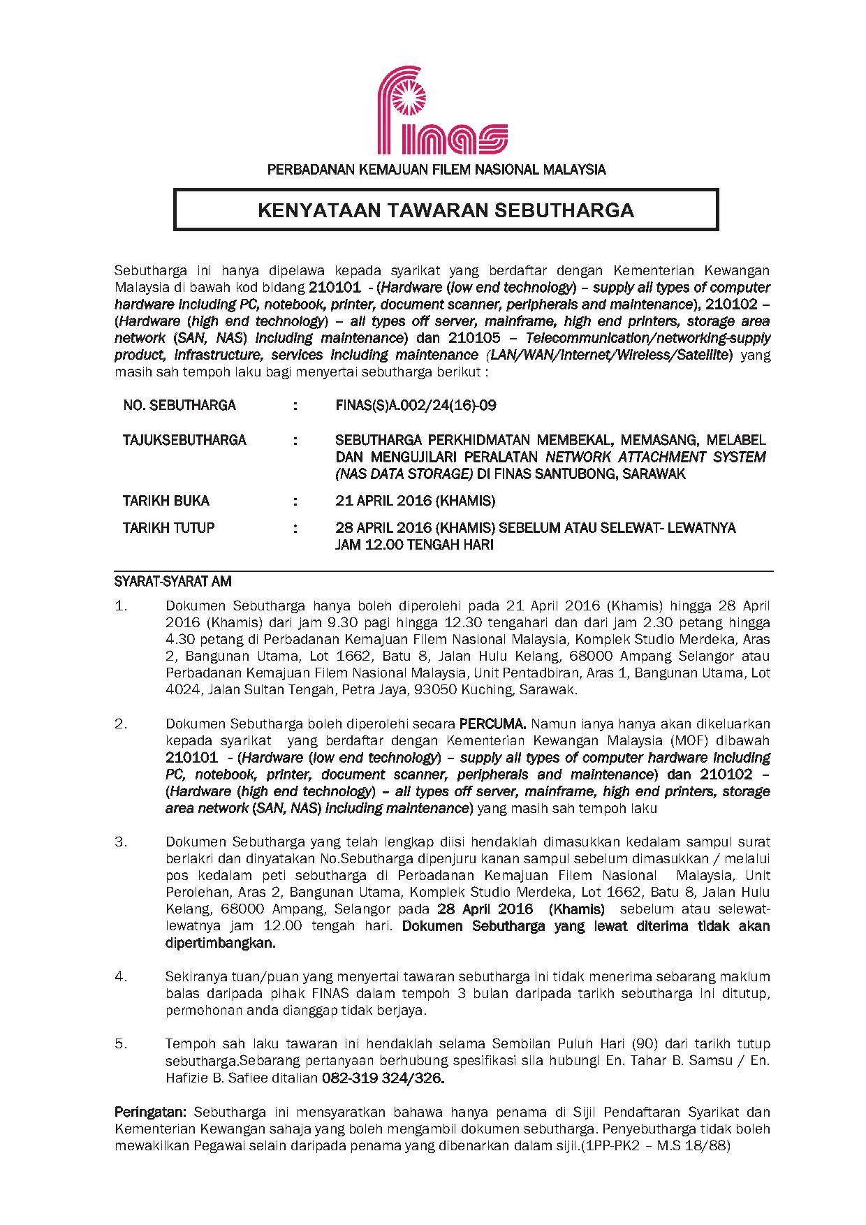 KENYATAAN TAWARAN 09