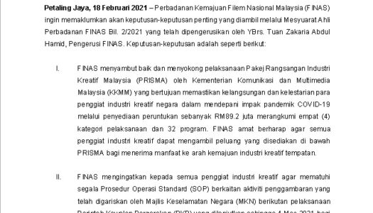 KEPUTUSAN MESYUARAT AHLI PERBADANAN FINAS BIL. 2/2021