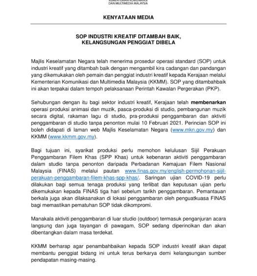 20210209 KENYATAAN MEDIA YBM KKMM - SOP INDUSTRI KREATIF SEMASA PKP -1