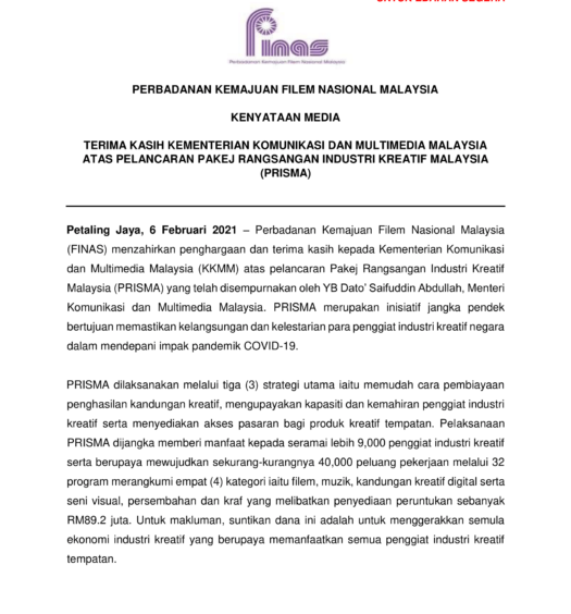 KENYATAAN MEDIA FINAS_TERIMA KASIH KKMM ATAS PRISMA 2021-1