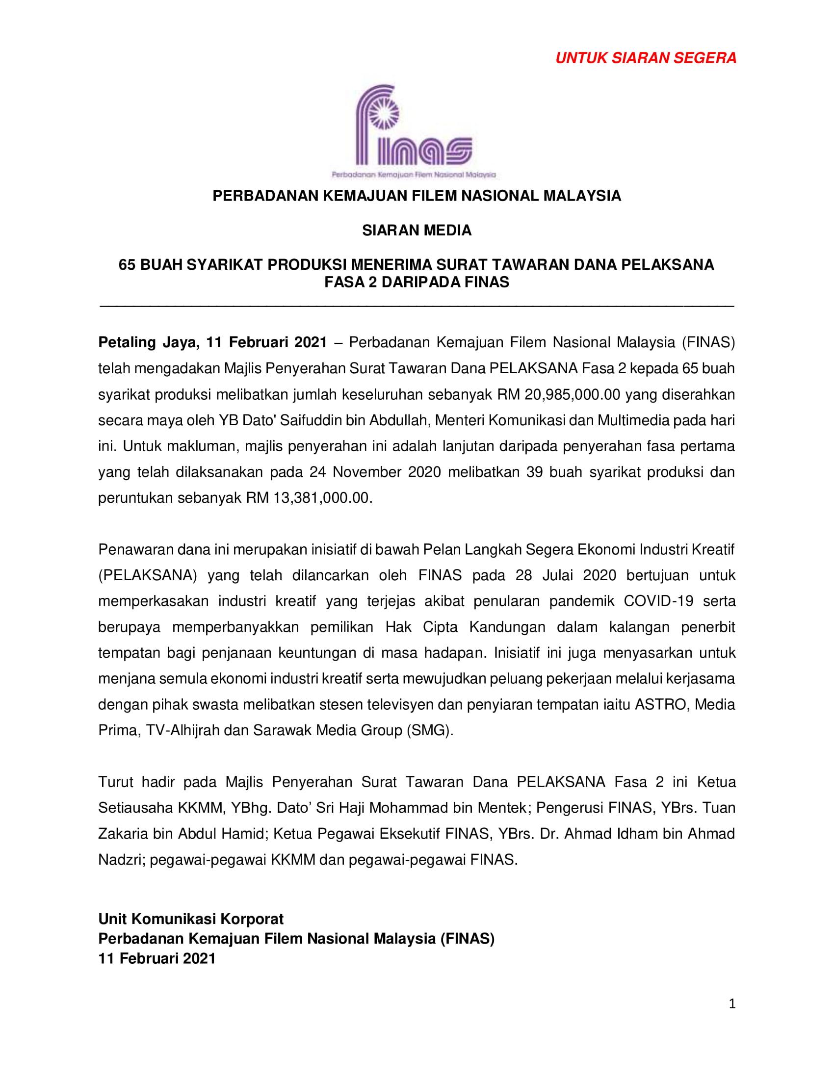 SIARAN MEDIA_PENYERAHAN SURAT TAWARAN PELAKSANA FASA 2 KEPADA 65 SYARIKAT-1
