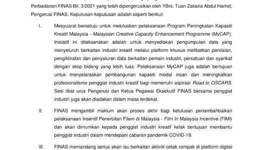 KEPUTUSAN MESYUARAT AHLI PERBADANAN FINAS BIL. 3/2021