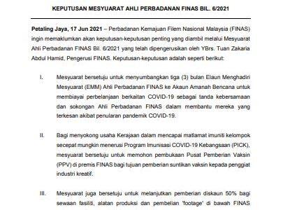 KEPUTUSAN MESYUARAT AHLI PERBADANAN FINAS BIL. 6/2021